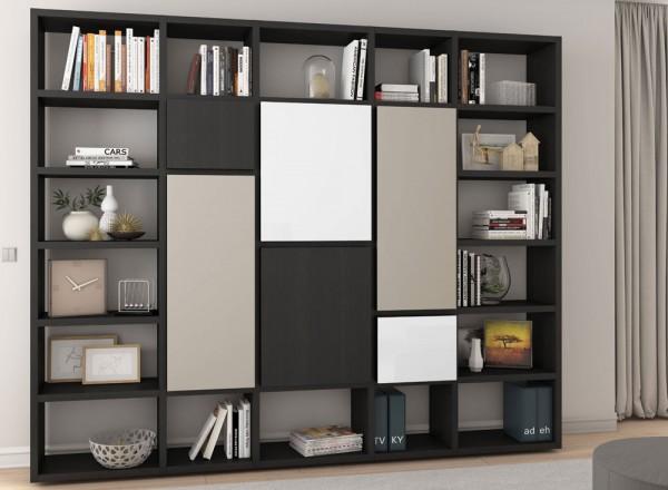 Toro Bücherregal mit Türen eiche schwarzbraun / Front multi