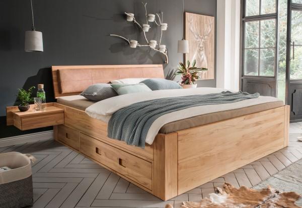 Massivholzbett kernbuche o. buche mit Schubladen variabel Komforthöhe