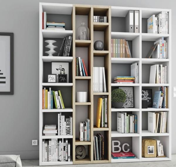 Toro Bücherregal extrem belastbar weiß Lack / eiche sonoma