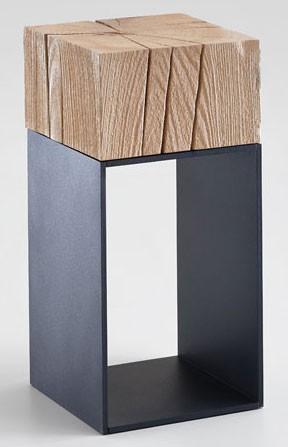 Hartmann kleiner Beistelltisch Massivholz rustikal riffeiche