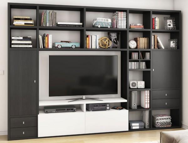 Toro 371 Wohnwand mit TV-Fach eiche schwarzbraun / weiß Lack