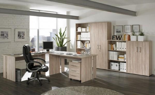 SATURN 8-teilige Büro-Kombination in Dekor Sonoma-Eiche Nachbildung