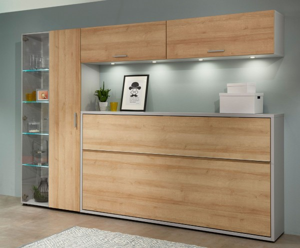 Single Wohnen mit Loop Schrankklappbett quer 90x200 cm kurzfristig