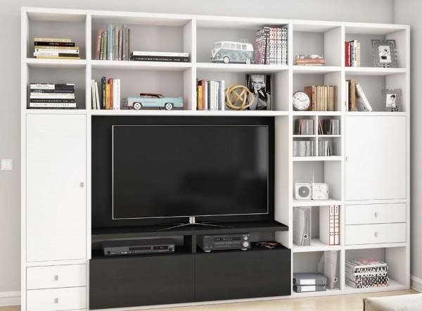 Toro 371 Wohnwand mit TV-Fach weiß Lack / eiche schwarzbraun