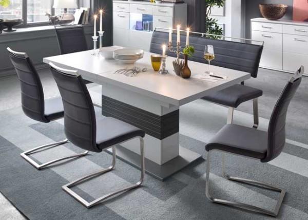 MCA Trento ausziehbarer Säulentisch weiß 180x100 cm