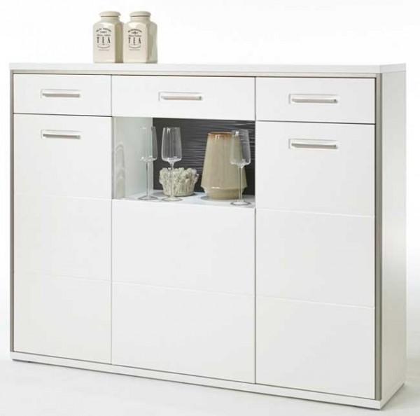 MCA Trento Highboard weiß Hochglanz mit Türen und Schubladen