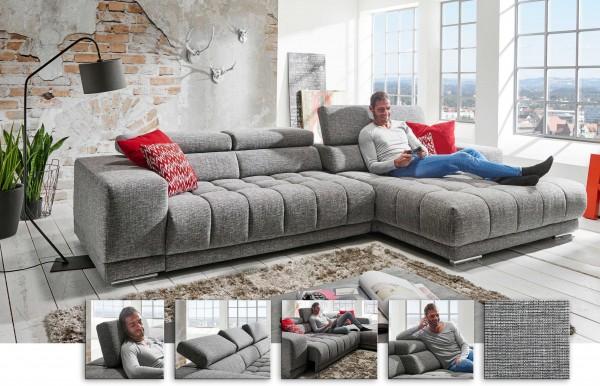 Megapol Satellite modernes Sofa mit Longchair viele Funktionen u. Farben