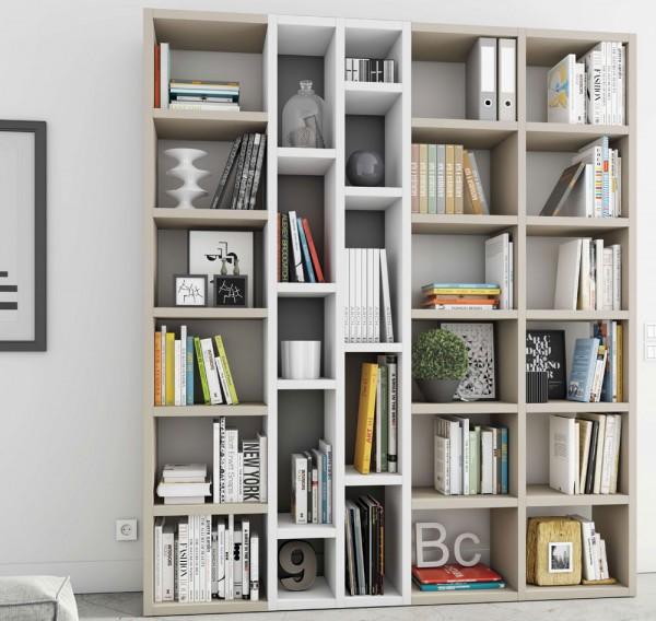 Toro Bücherregal extrem belastbar beige Lack / weiß Hochglanz