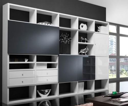 Toro Wohnzimmer Regal mit Türen weiß Hochglanz nach Maß planen