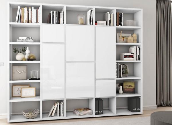 Toro Bücherregal Mit Türen Weiß Hochglanz