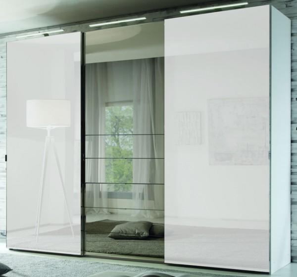 Staud Media Kleiderschrank mit TV Fach u. Spiegel weiß B 225 cm