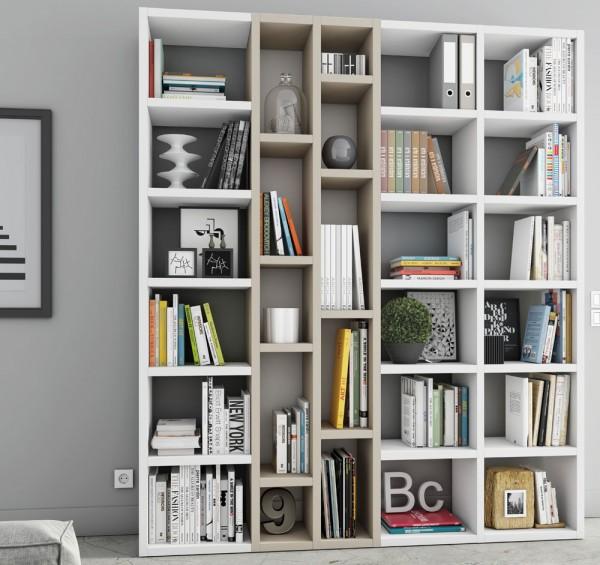 Toro Bücherregal extrem belastbar weiß Lack / beige Lack