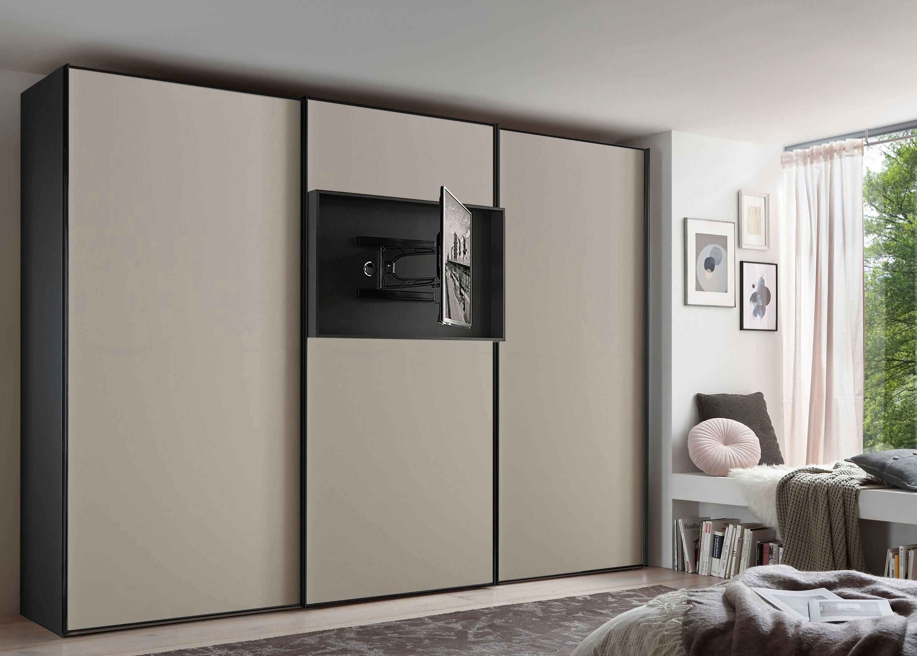Staud Media Flat Kleiderschrank mit TV Paneel Mattglas in vielen Farben