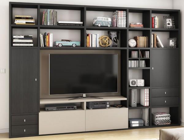 Toro 371 Wohnwand mit TV-Fach eiche schwarzbraun / beige Lack