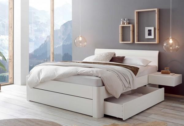 Hasena Bellissimo Bett massiv weiß mit Schubkästen viele Größen