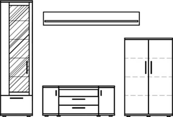 Stralsunder Wohnwand Wiek EB200 4-teilig Typenbild