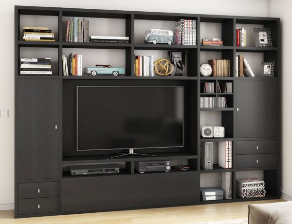 Toro 371 Wohnwand mit TV-Fach eiche schwarzbraun