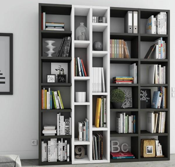 Toro Bücherregal extrem belastbar eiche schwarzbraun / beige Lack