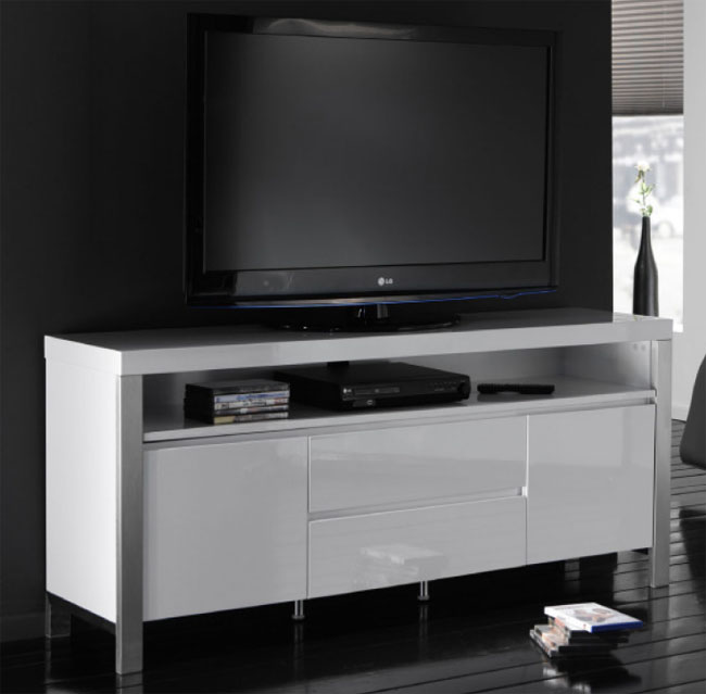 tv m bel wei hochglanz mit edelstahl stollen m belmeile24. Black Bedroom Furniture Sets. Home Design Ideas