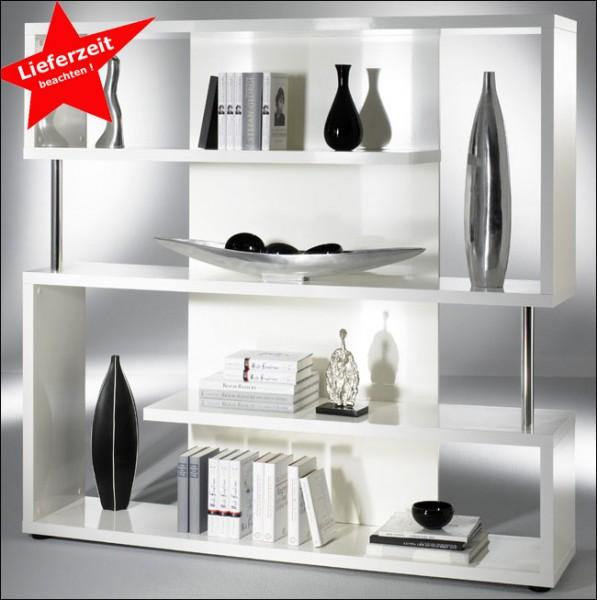 twist wandregale wei hochglanz mit chromstollen breite 150 cm m belmeile24. Black Bedroom Furniture Sets. Home Design Ideas