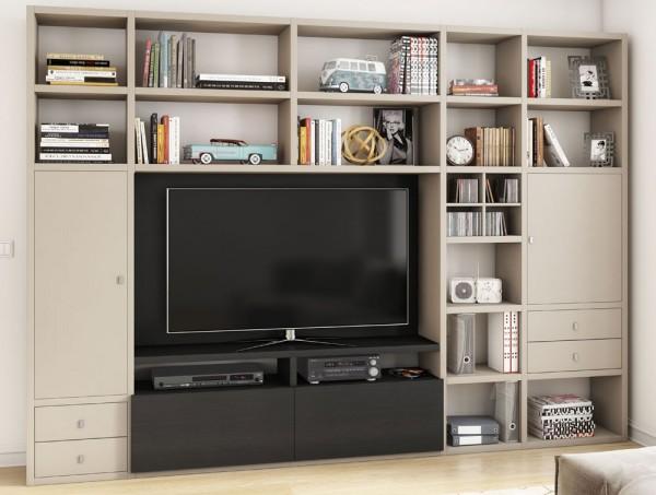 Toro 371 Wohnwand mit TV-Fach beige Lack / eiche schwarzbraun