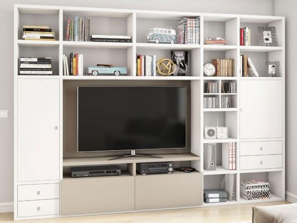 Toro 371 Wohnwand mit TV-Fach weiß Lack / beige Lack