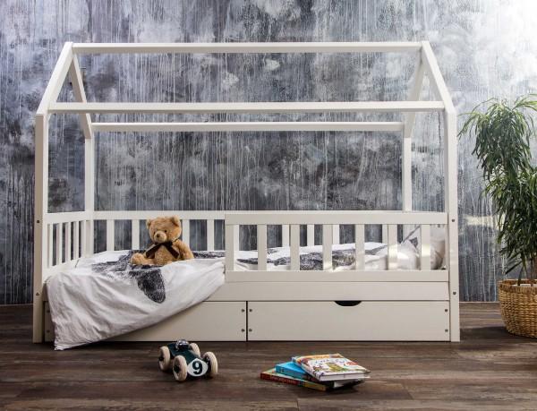 Massivholz Hausbett mit Schubkästen in 2 Größen