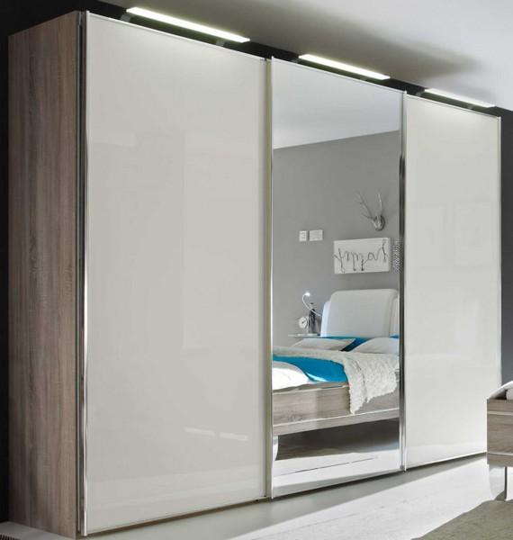 Staud Sinfonie Plus Schwebetürenschrank Glas mit Spiegel Höhe 222 cm