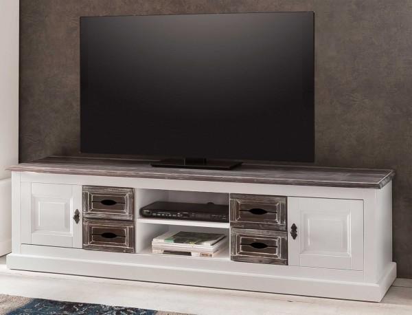 Larix Cabana weißer TV Unterschrank im Vintage-Look