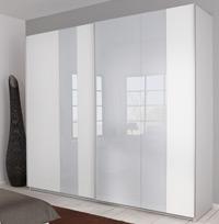 Das Bild zeigt das P1 Kleiderschranksystem weiß / Glas hellgrau.