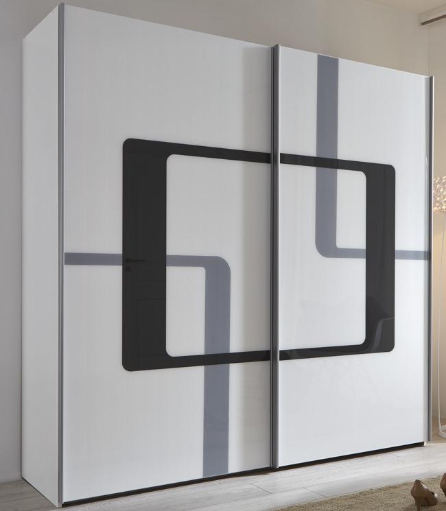 FIF Cosma Schwebetürenschrank weiß Glas mit Siebdruck