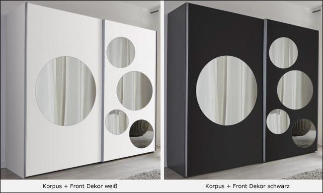 FIF Spot Schwebetürenschrank weiß / schwarz mit Spiegel