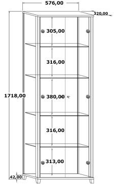 Das Bild zeigt eine Maßskizze von einer Vitrine Optima 2türig.