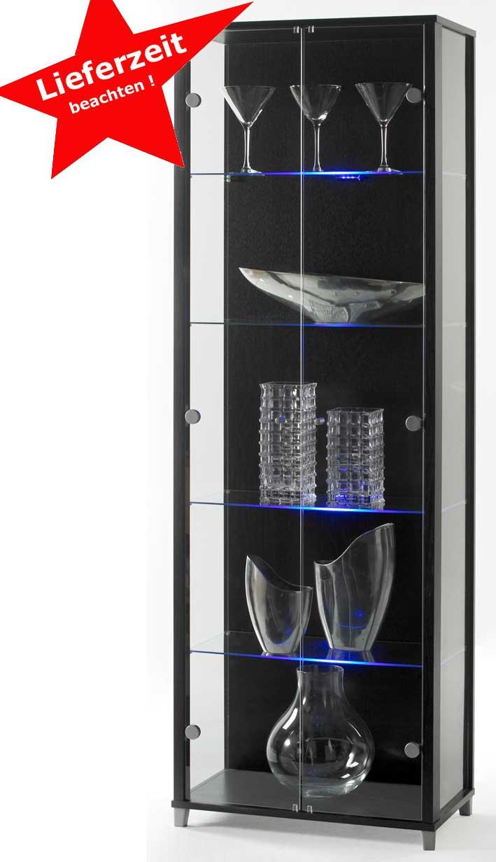 Glasvitrine schwarz mit LED Beleuchtung