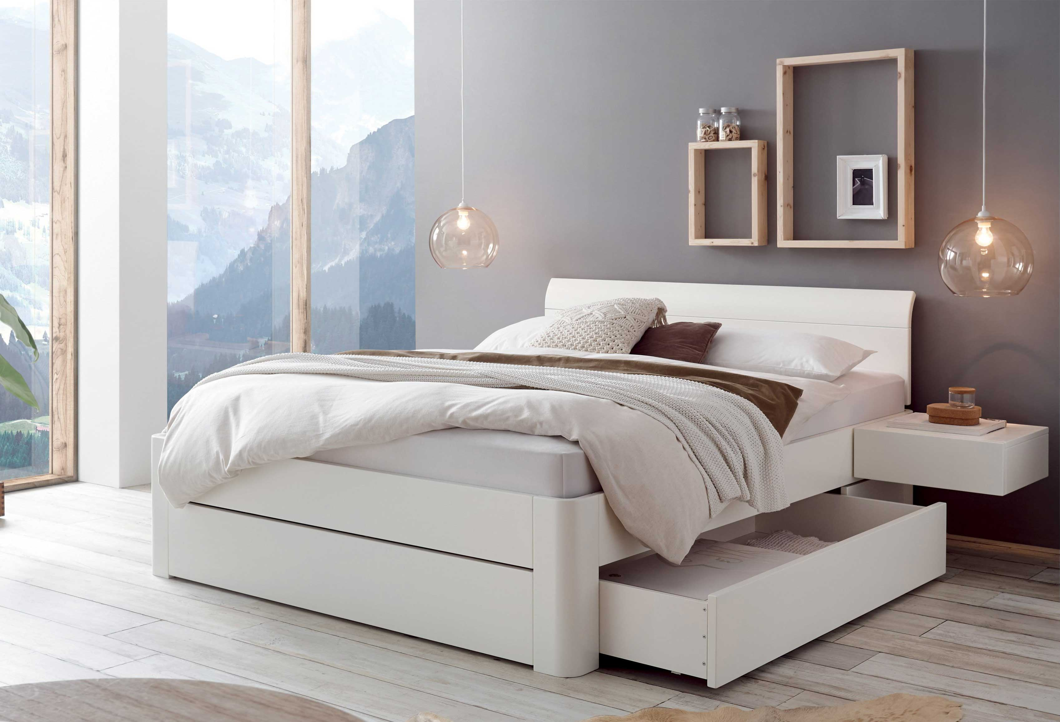 Massivholzbett Bellissimo weiß mit Bettkasten