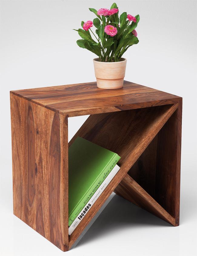 Kare Design Authentico Massivholz Beistelltisch zigzag