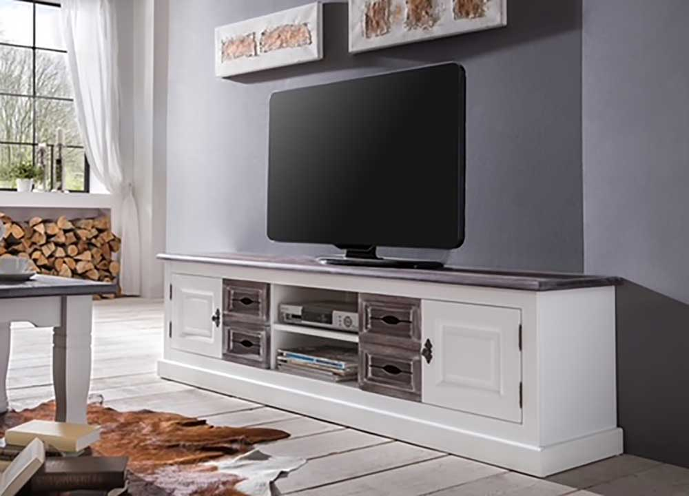 Larix Cabana TV Lowboard weiß in Vintage-Optik