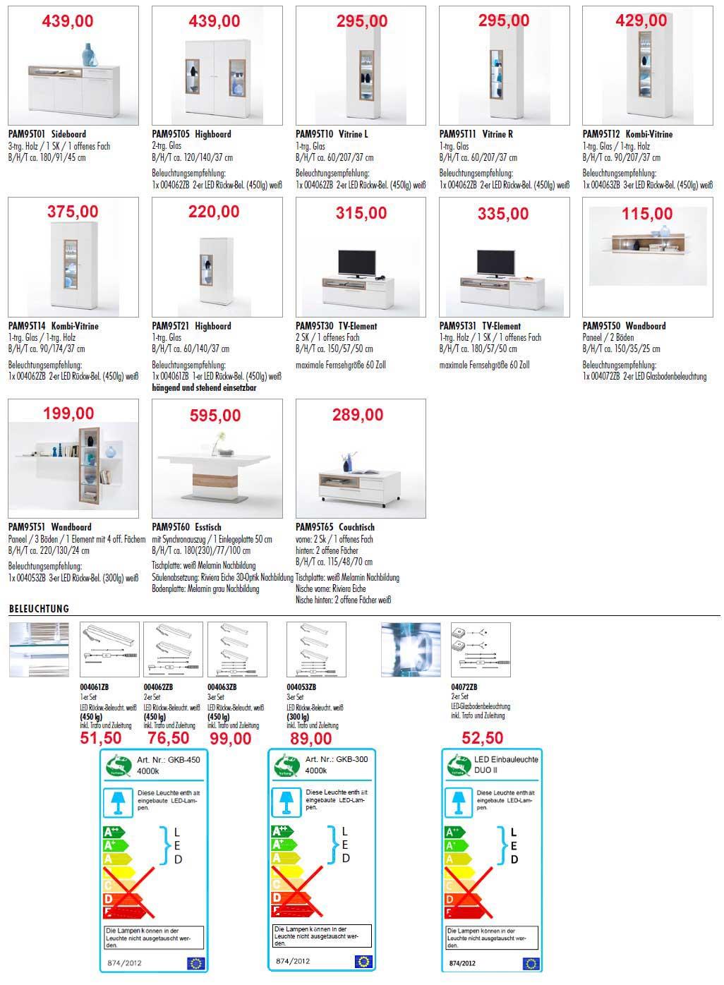 MCA Pamplona Wohnzimmermöbel Typenplan