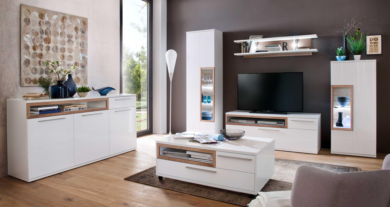 MCA Pamplona Hochglanz Wohnzimmer weiß