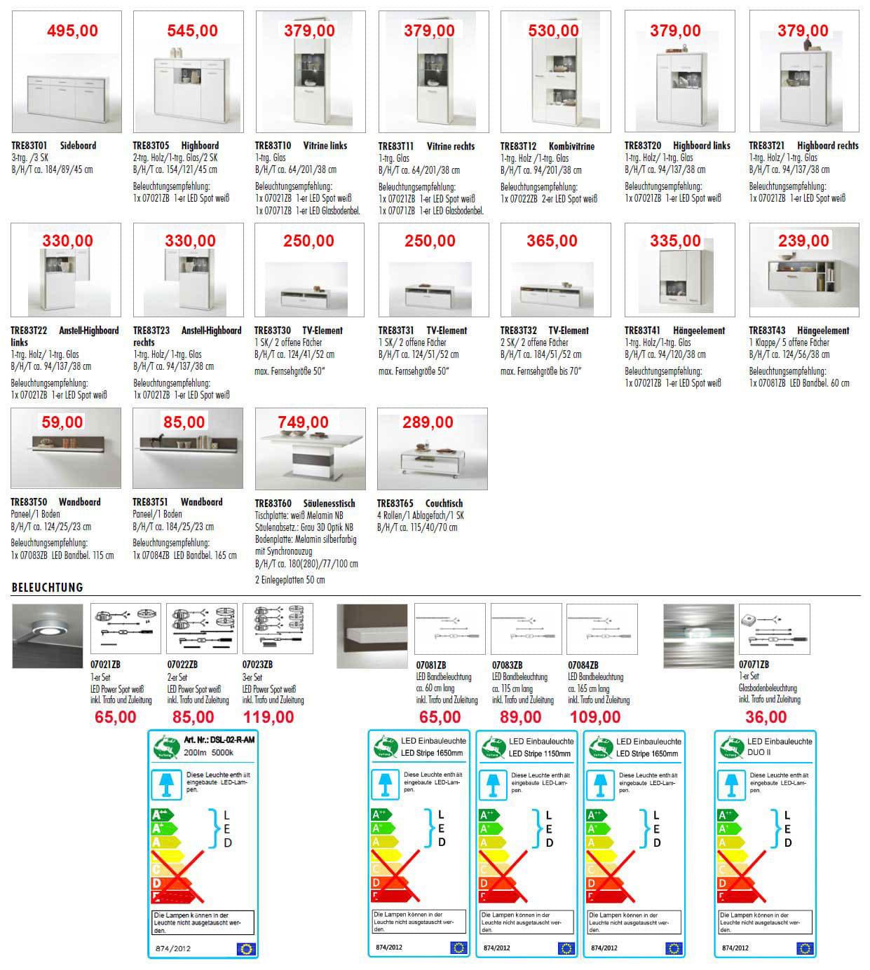MCA Trento Wohnzimmermöbel Typenplan