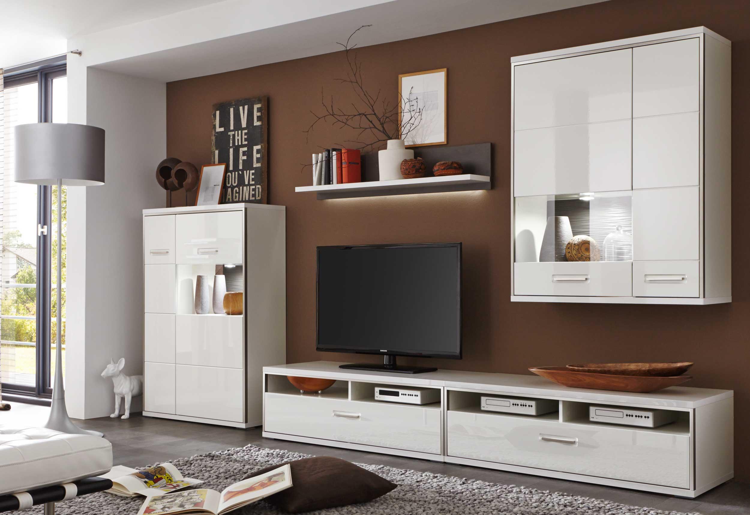 MCA Trento moderne Hochglanz Wohnwand weiß