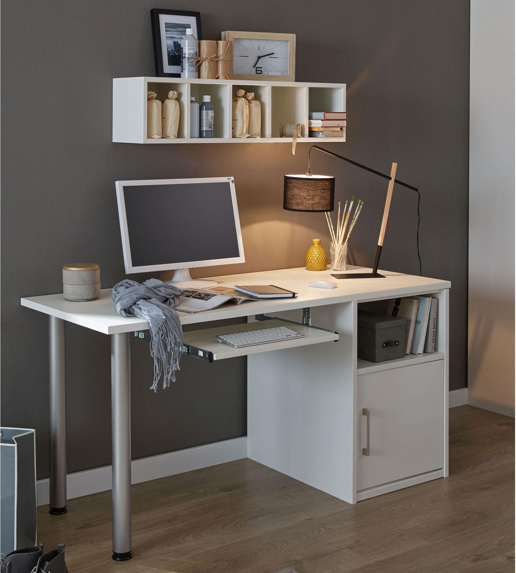Priess Achat Schreibtisch weiß mit Stützcontainer