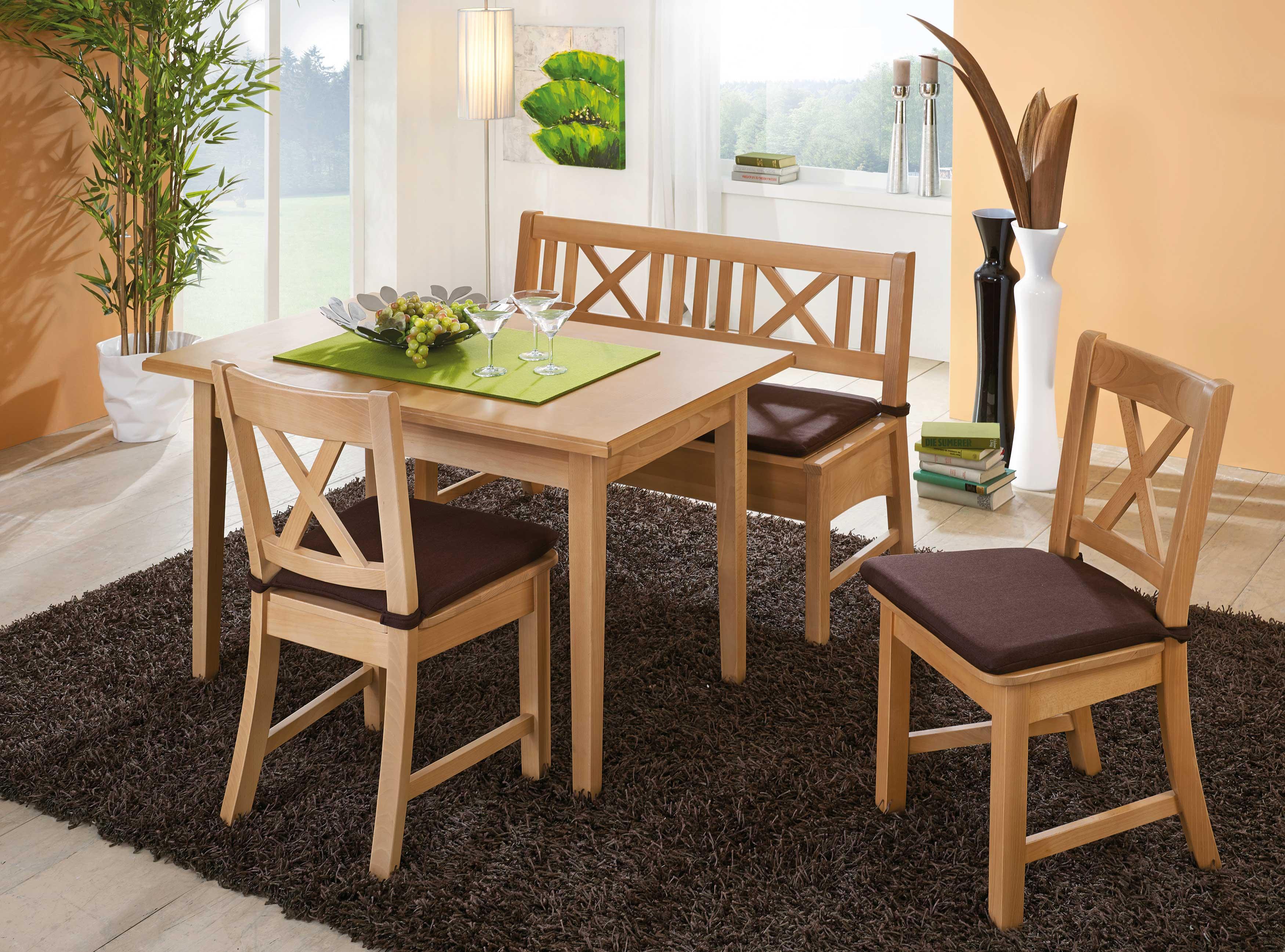 Schösswender Bodensee Tischgruppe mit Stühlen und Bank im Landhausstil