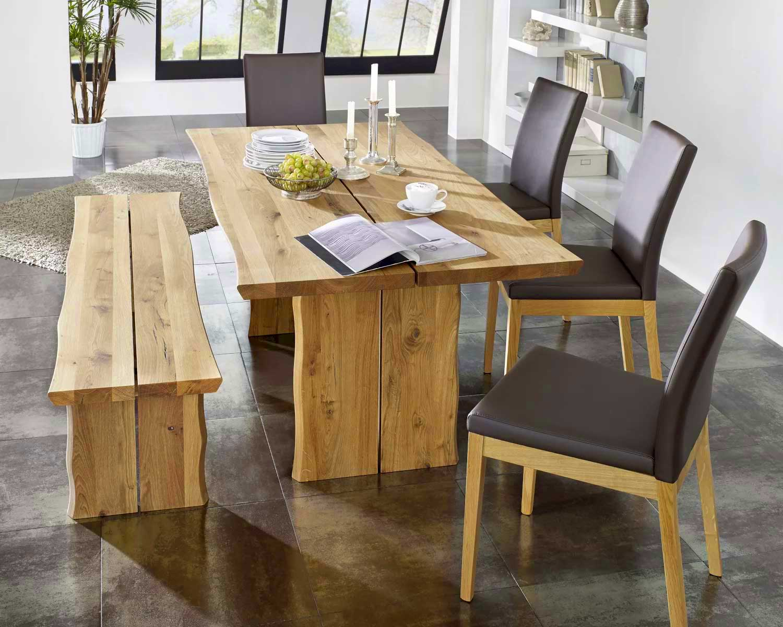 Schösswender Oviedo Tischgruppe massiv wildeiche mit Baumkante