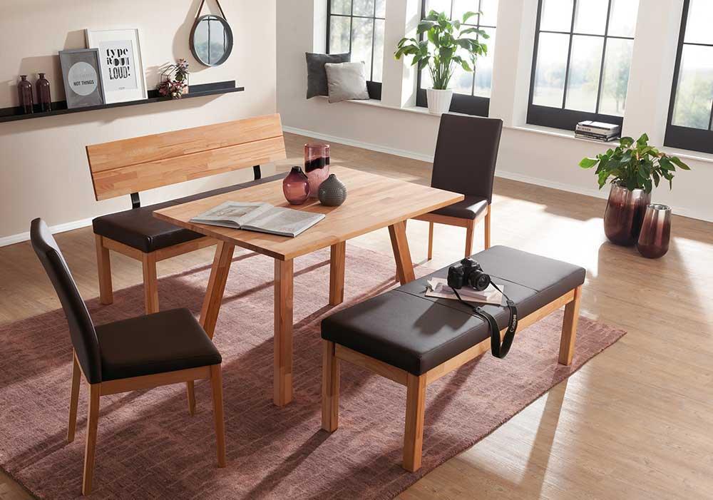 Schösswender Roberto Tischgruppe mit Stühlen und Bank kernbuche