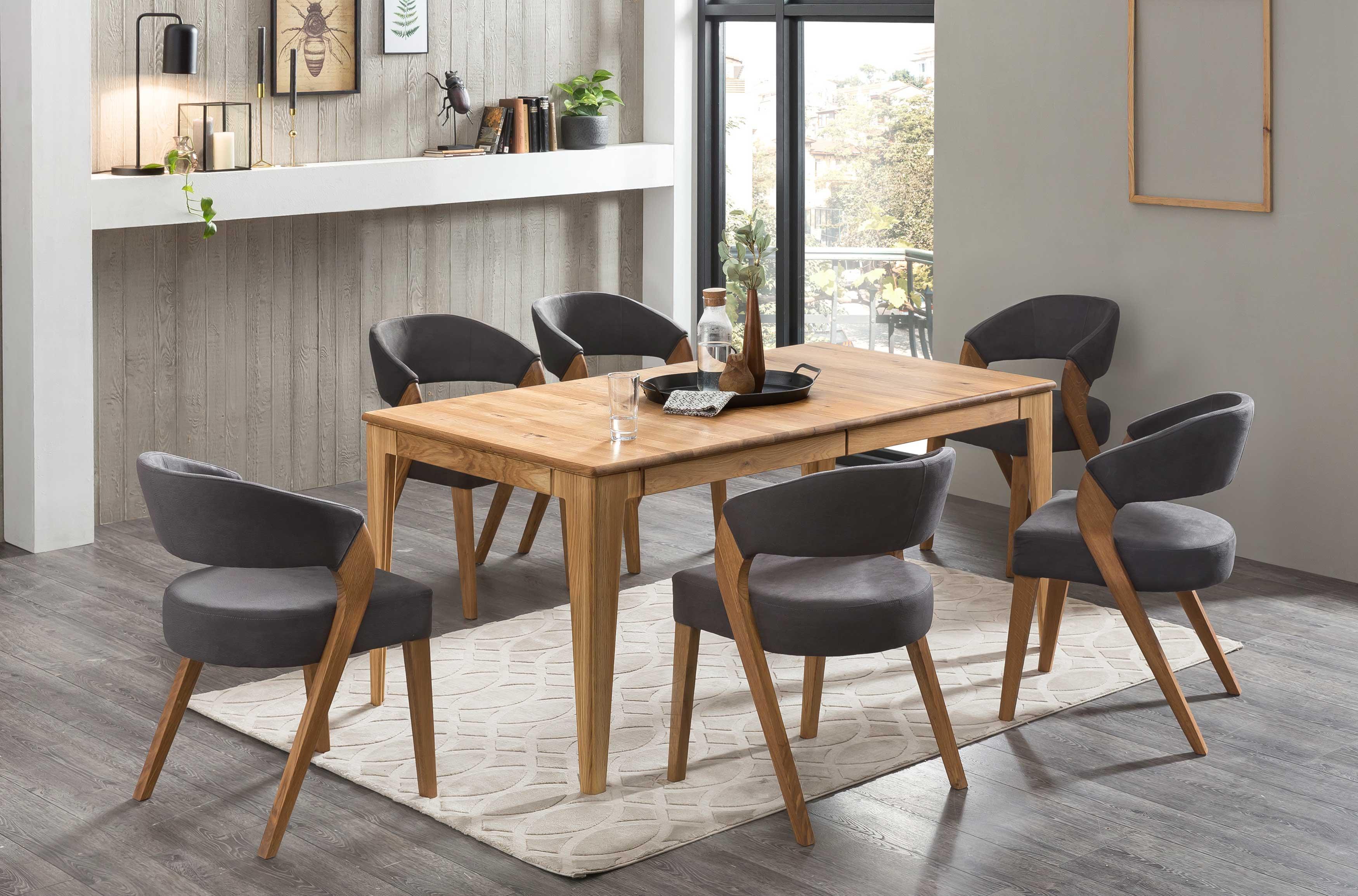 Standard Furniture Tischgruppe mit Avignon Massivholztisch und Stühlen Almada eiche rustikal