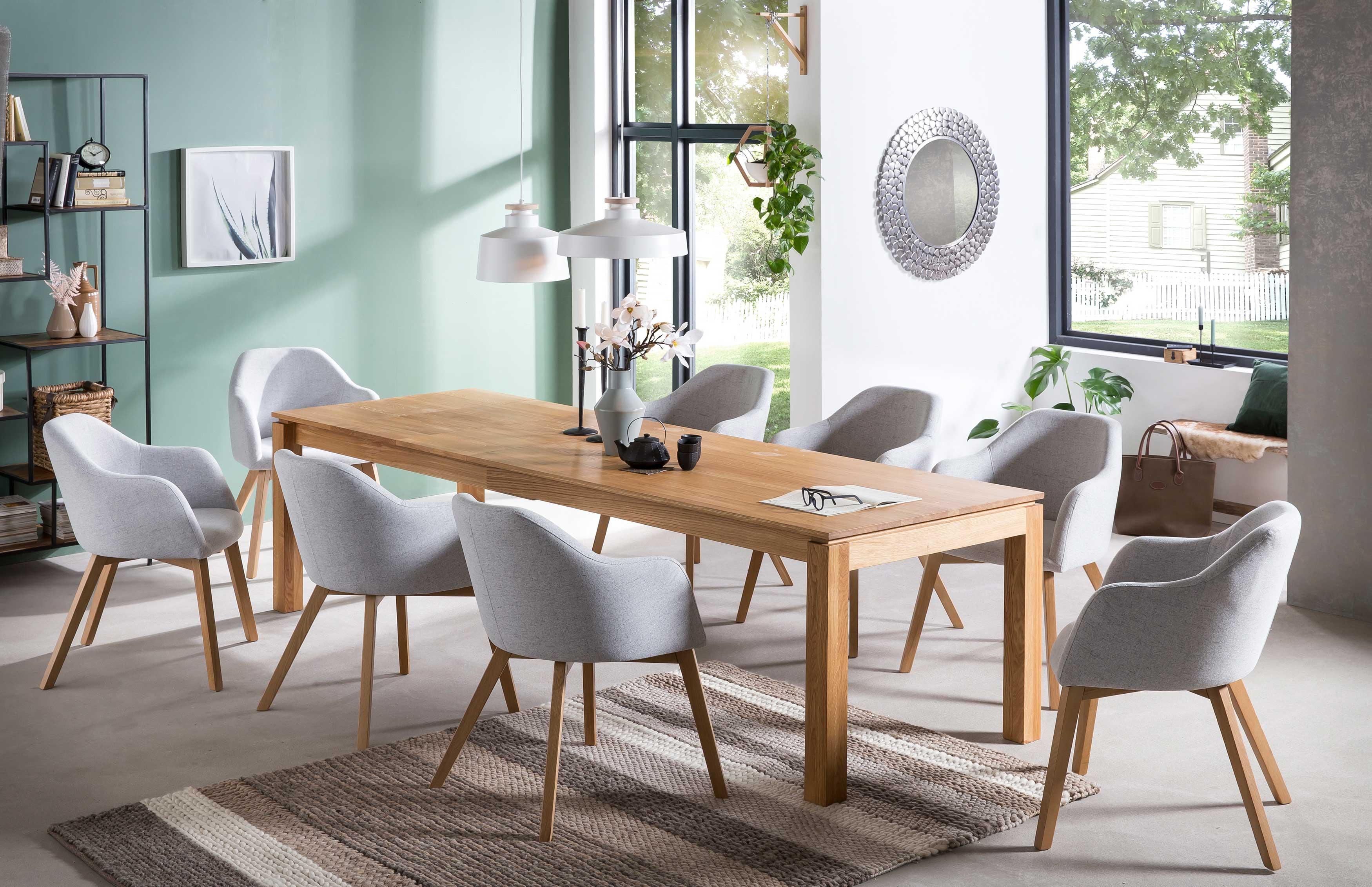 Standard Furniture Tischgruppe mit Kandel Massivholztisch und Stühlen Theo eiche