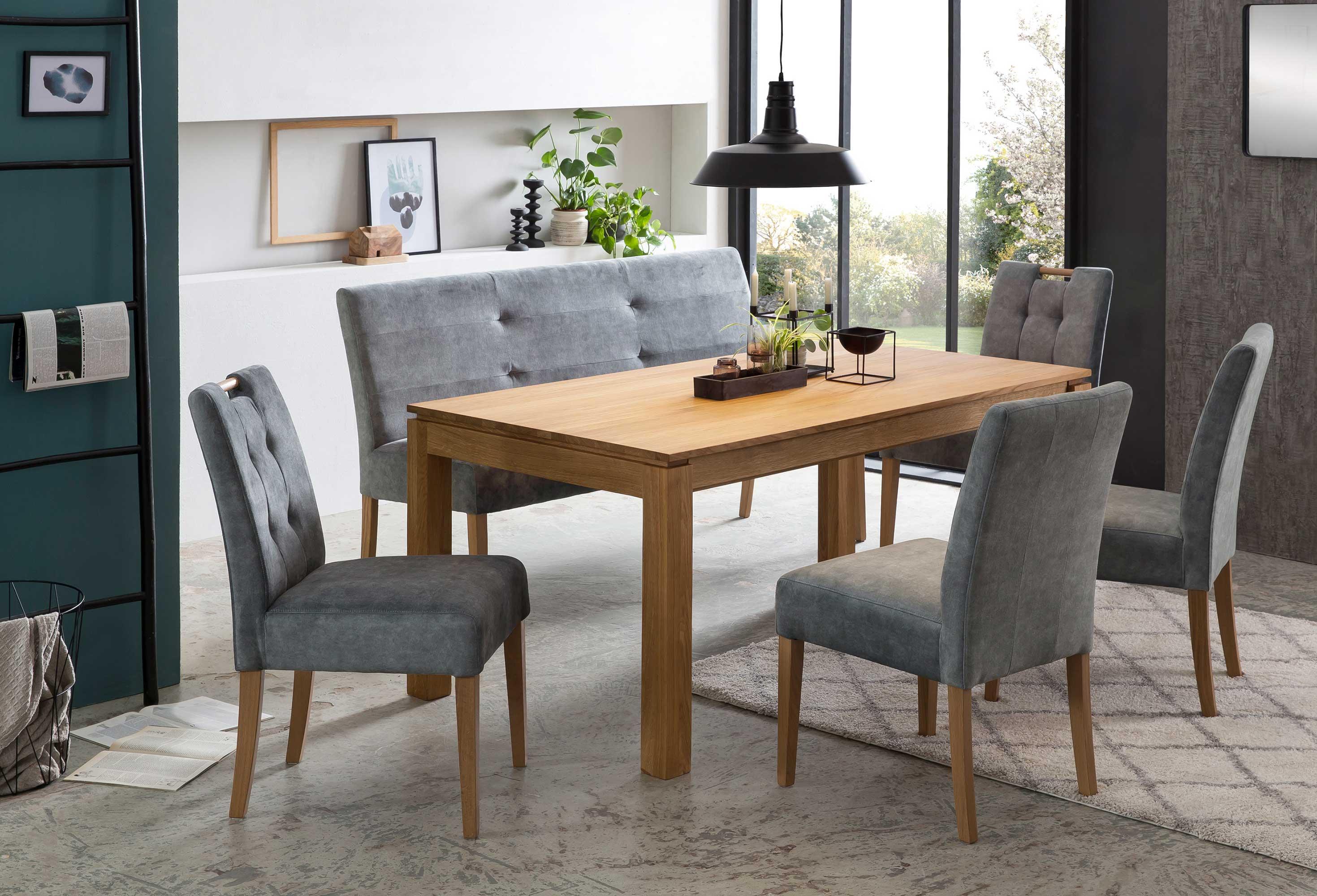 Standard Furniture Tischgruppe mit Kandel Massivholztisch und Stühlen Agra eiche