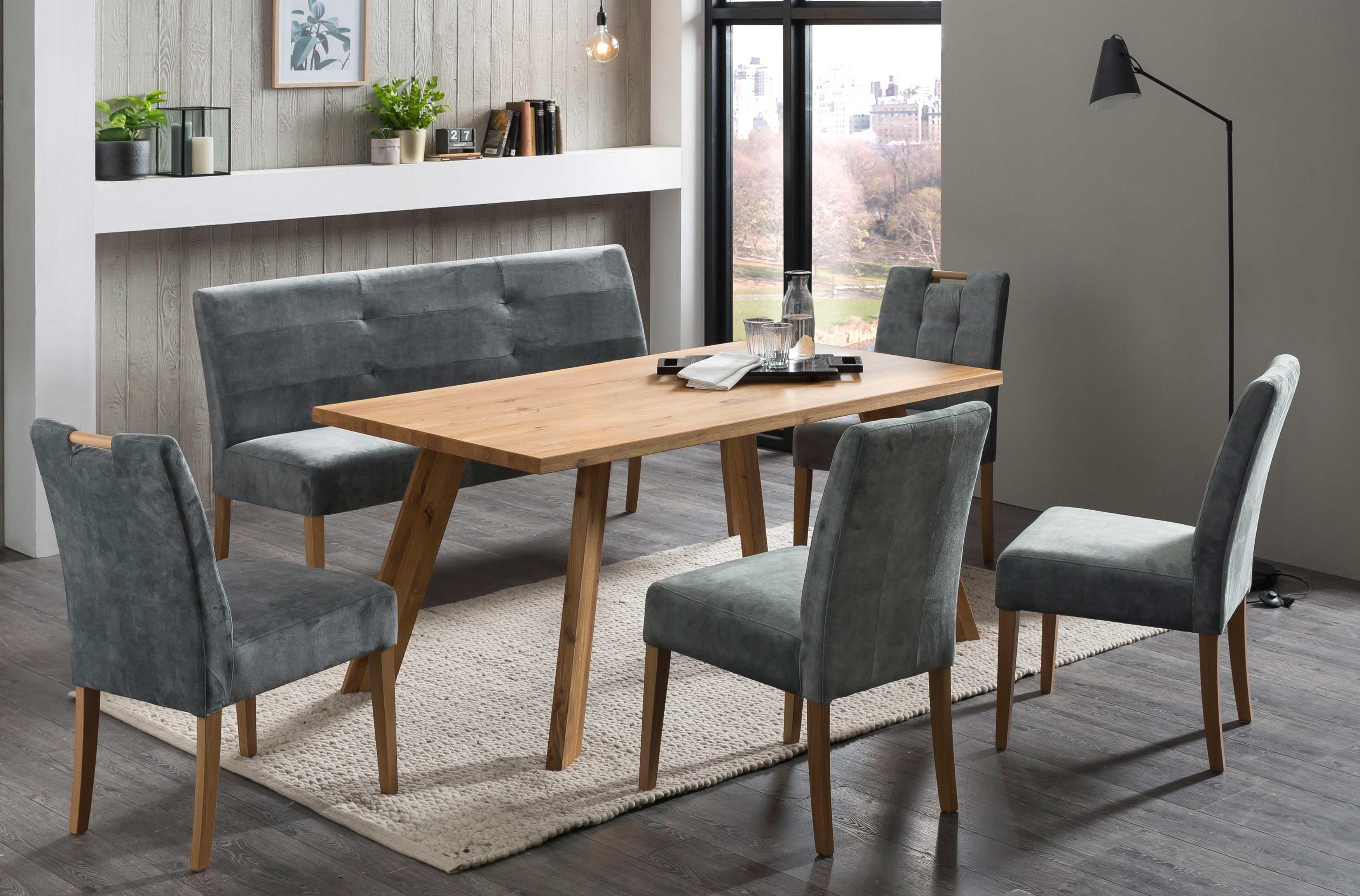 Standard Furniture Tischgruppe mit Arles Massivholztisch eiche rustikal