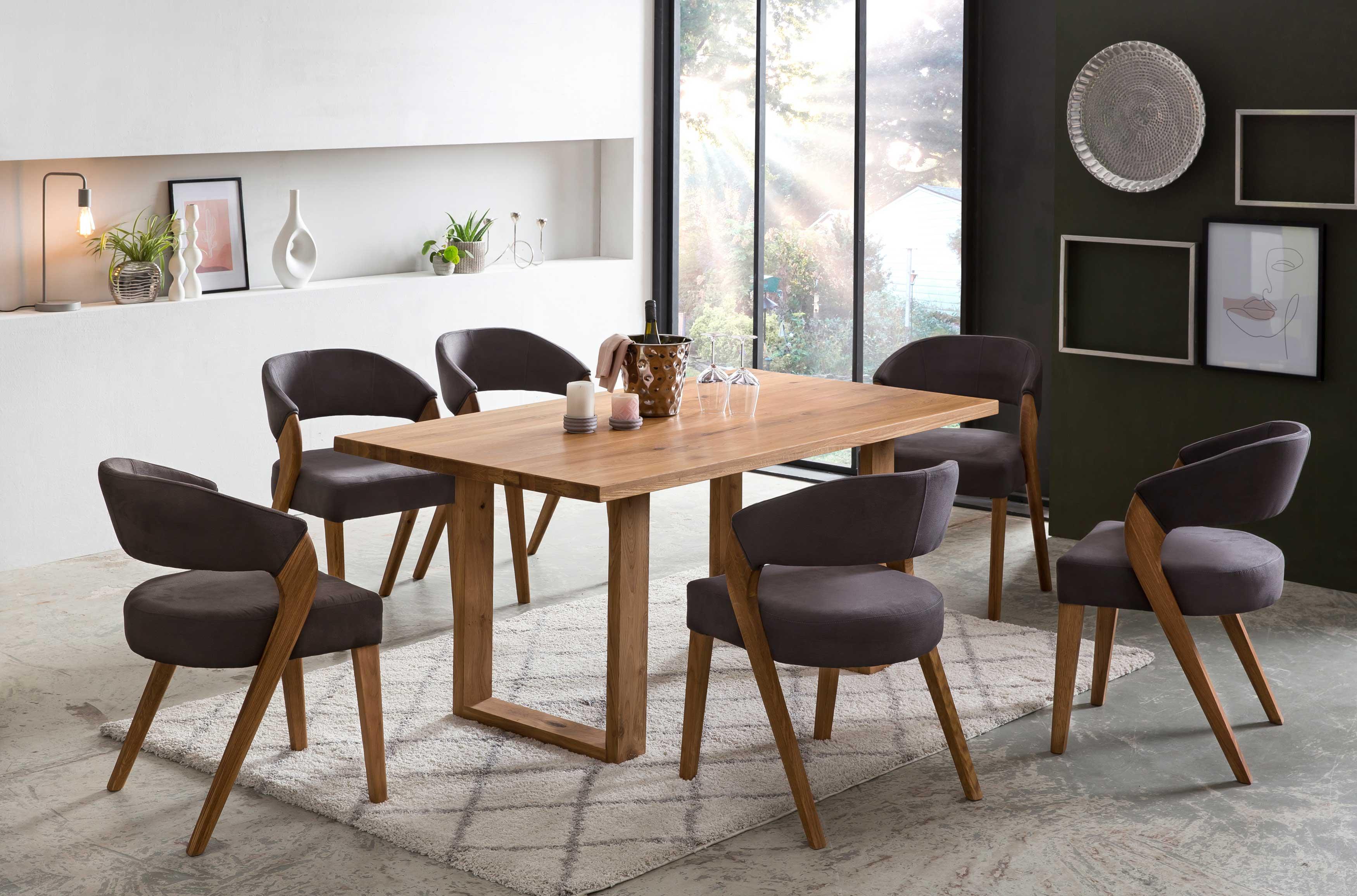 Standard Furniture Tischgruppe mit Orlando Massivholztisch und Stühlen Almada eiche